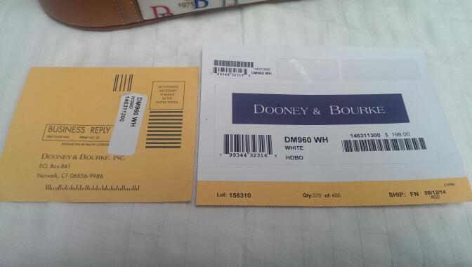 DOONEY & BOURKE DB75 WHITE SIGNATURE HOBO HANDBAG DM960