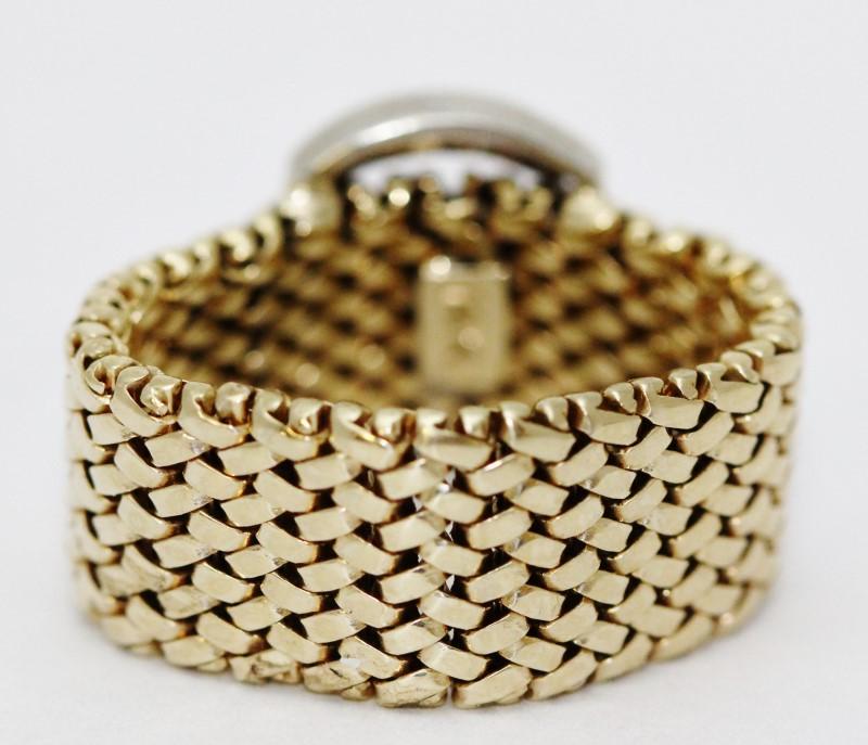 14K Two-Tone Yellow & White Gold Mesh Flexible Diamond Belt Buckle Ring sz 5