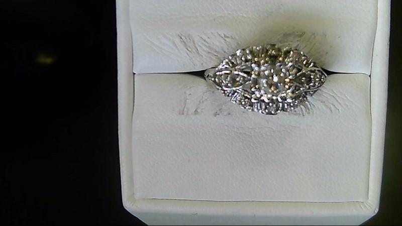 Lady's Diamond Fashion Ring 9 Diamonds .28 Carat T.W. 14K White Gold 3.2g