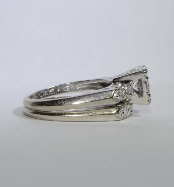 14K White Gold Vintage Inspired Diamond Wedding Ring Set Size: 5.5