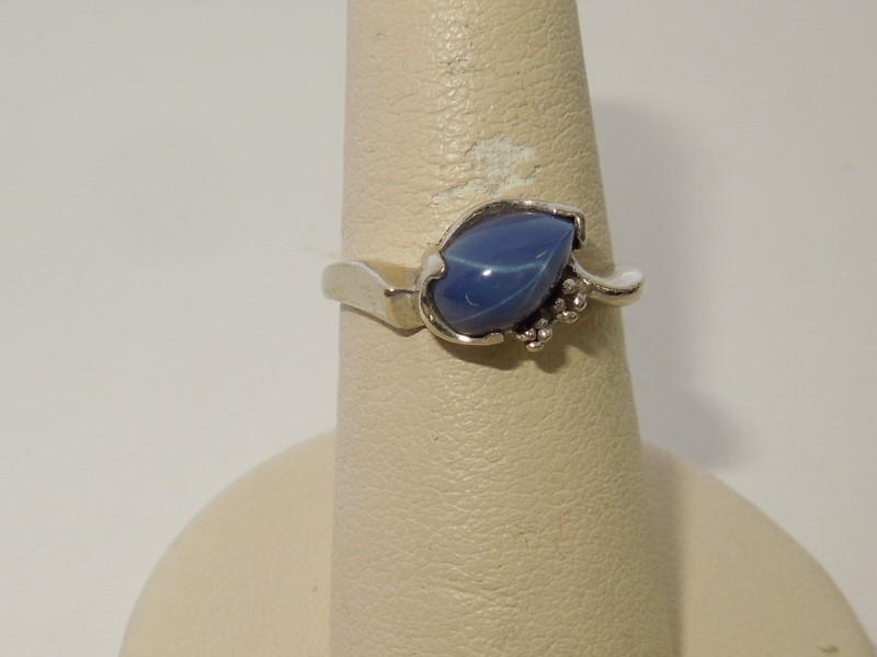 Synthetic Star Sapphire Lady's Stone & Diamond Ring .001 CT. 14K White Gold