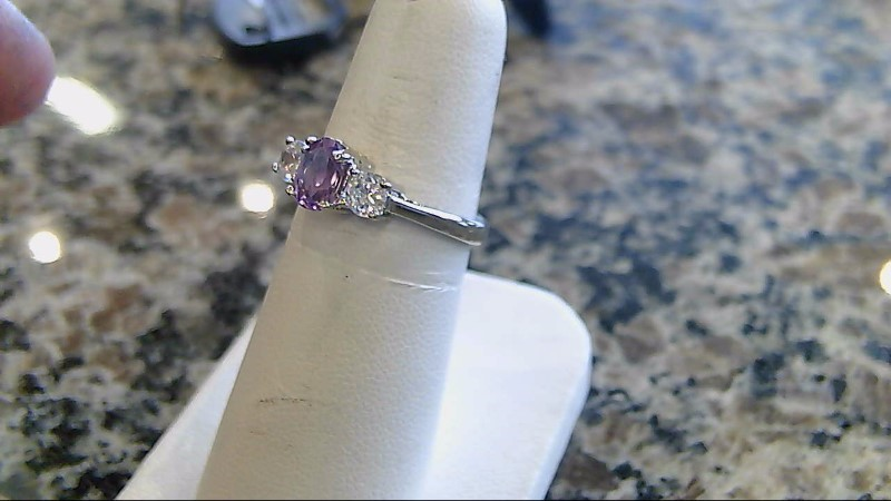 Pink Stone Lady's Silver & Stone Ring 925 Silver 3.2g Size:7