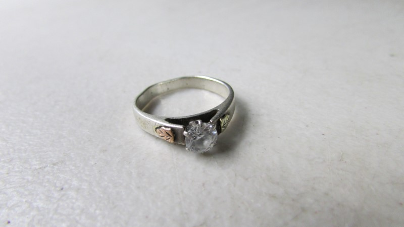 STERLING SILVER WITH BLACK HILLS GOLD SYNTHETIC STONES
