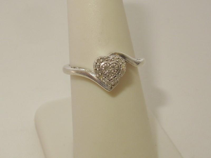 Lady's Silver-Diamond Ring 16 Diamonds .080 Carat T.W. 925 Silver 2.8g Size:7.5