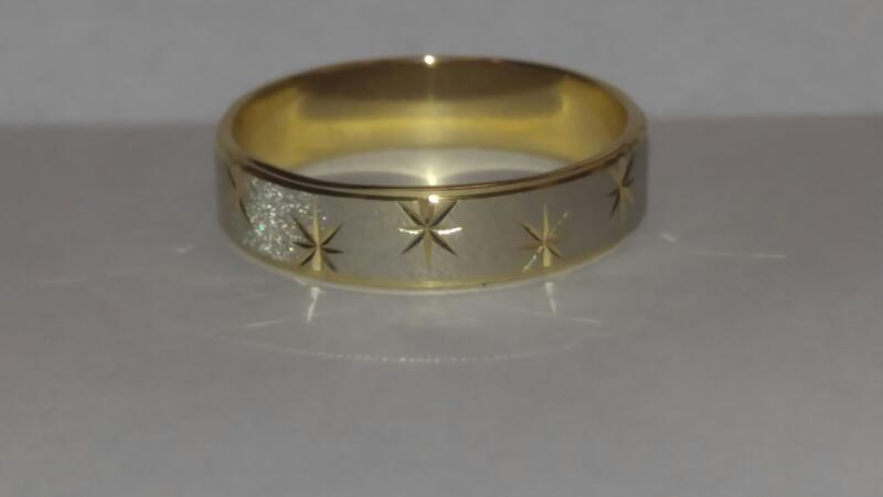 CARVED BAND Gent's Gold Ring 10K 2 Tone Gold 3.4dwt Size:13.5