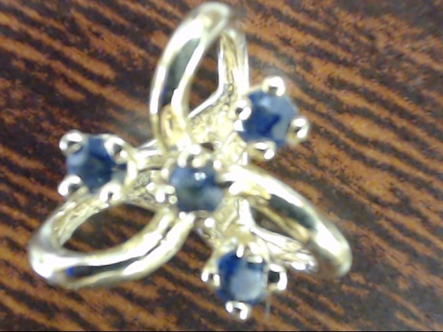 VINTAGE 4 SAPPHIRE CLUSTER KNOT PENDANT CHARM SOLID REAL 14K GOLD
