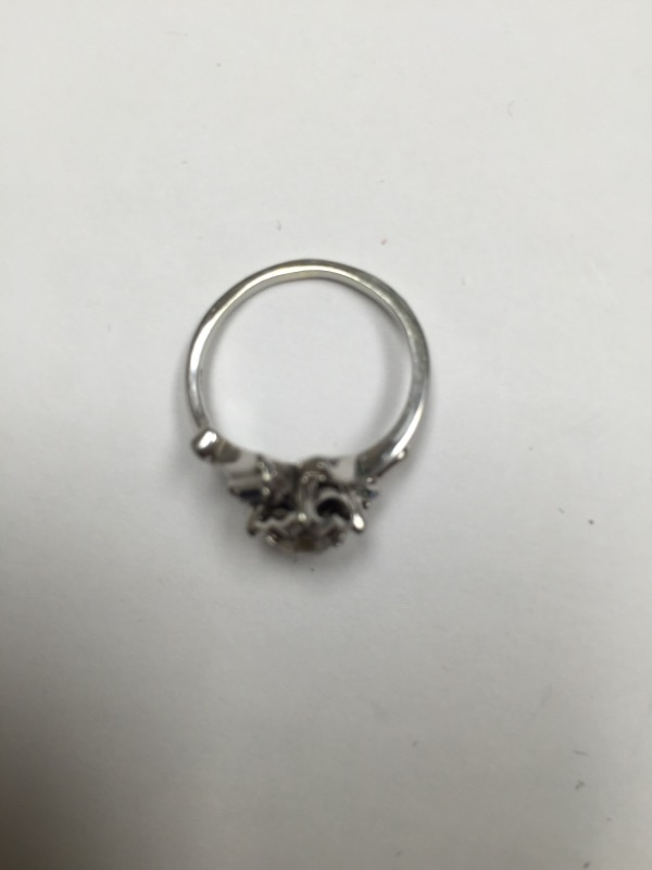 Synthetic Sapphire Lady's Stone & Diamond Ring .35 CT. 18K White Gold 2.8dwt