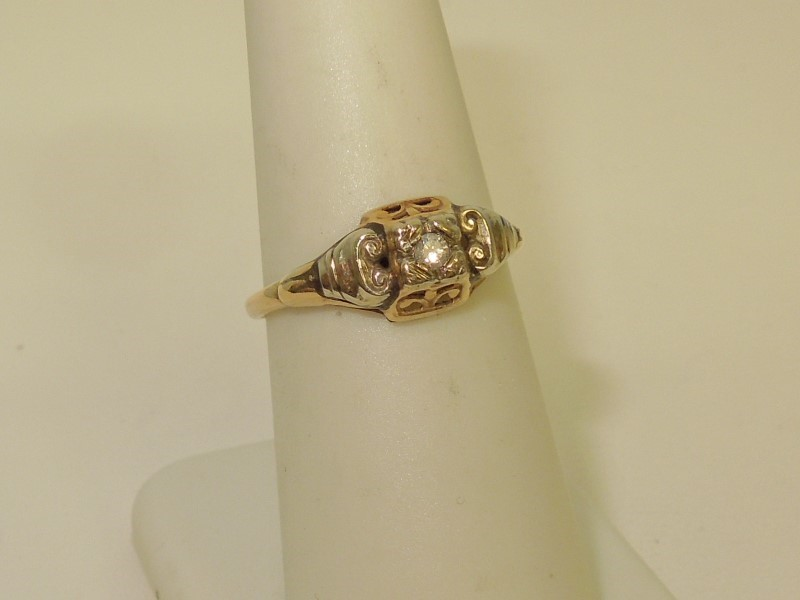 Lady's Diamond Solitaire Ring .03 CT. 14K 2 Tone Gold 1.6g