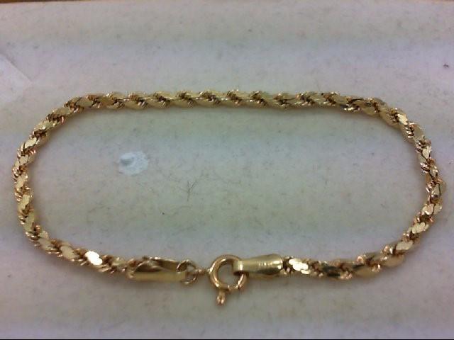 Gold Rope Bracelet 14K Yellow Gold 2.7g