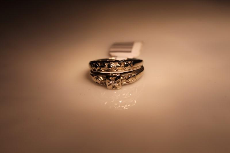 Lady's Diamond Wedding Set .03 CT. 14K White Gold 4.98g