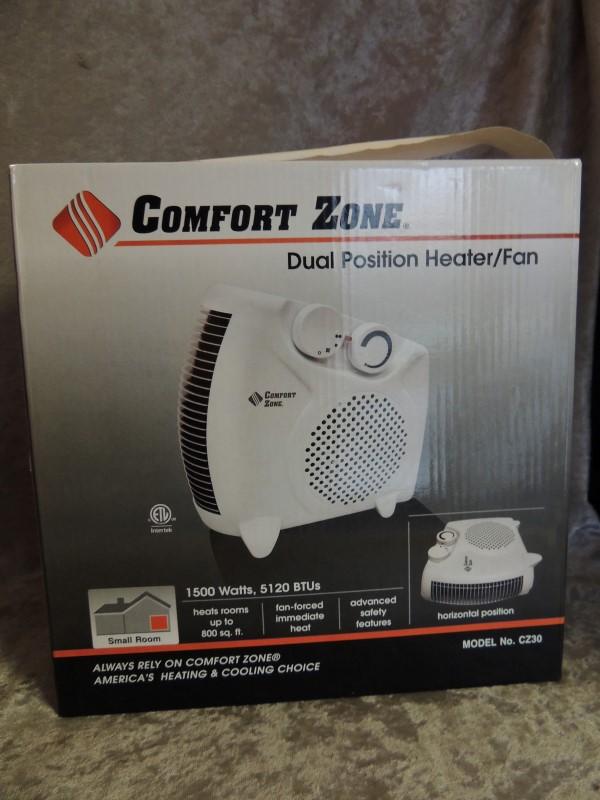 Comfort Zone Dual Position Heater/Fan 1500 Watts 5120 BTUs Model No. CZ30 NEW
