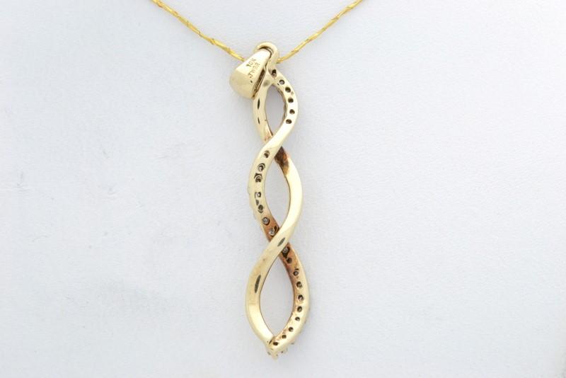 ESTATE DIAMOND PENDANT CHARM SOLID 10K YELLOW GOLD TWIST WAVE FINE