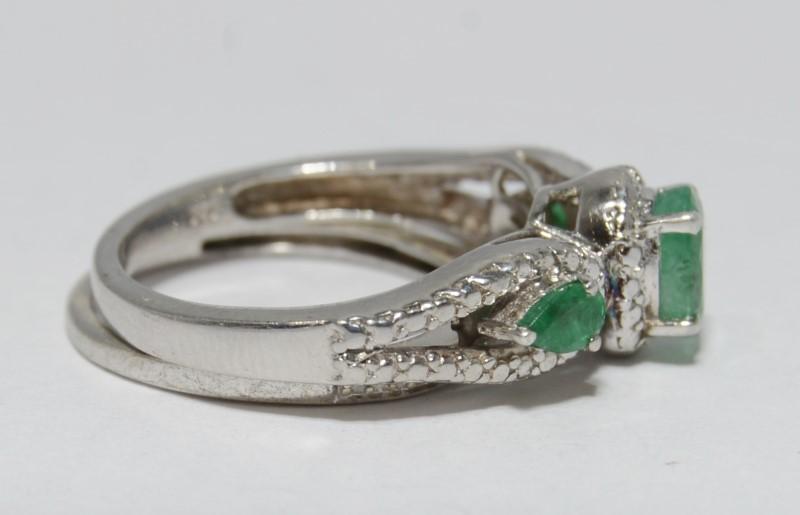 Sterling Silver Oval & Pear Emerald & Diamond 3-Stone Wedding Ring Set Sz 7