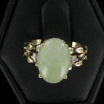 Green Stone Lady's Stone & Diamond Ring 2 Diamonds .10 Carat T.W.