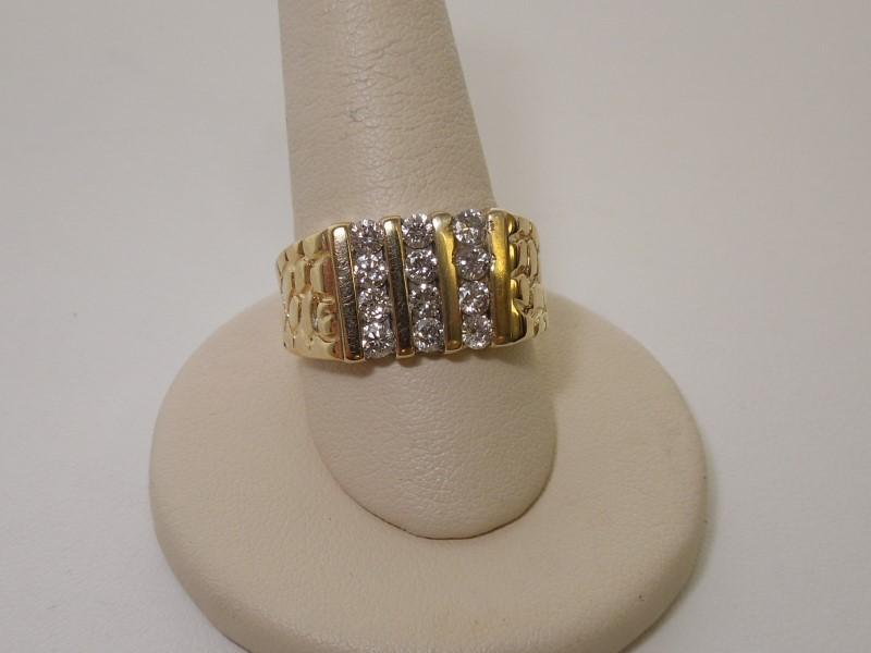 Gent's Diamond Solitaire Ring 12 Diamonds .84 Carat T.W. 14K Yellow Gold 5.2g