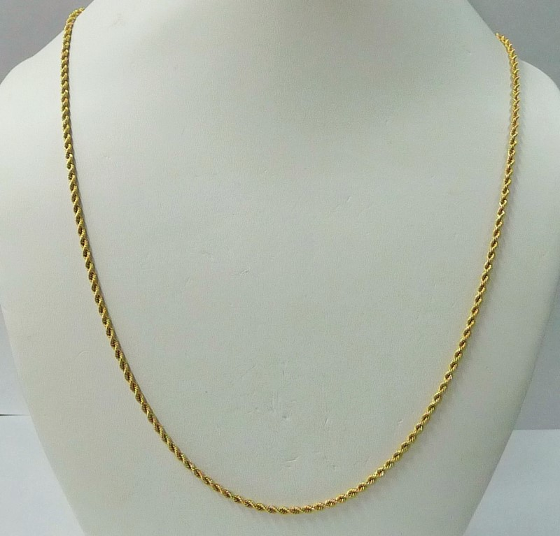 "22"" Gold Rope Chain 18K Yellow Gold 3.39dwt"