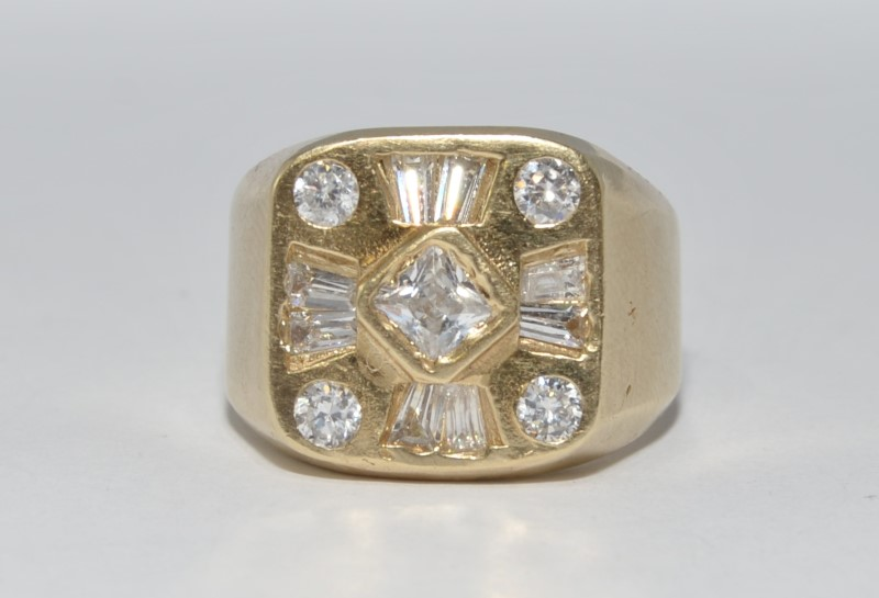 10K Yellow Gold Men's Round, Princess, & Asscher Diamond Cluster Ring sz 11