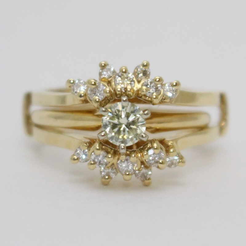 14K Yellow Gold Round Brilliant Sunburst Wedding Ring Guard Set sz 9.5