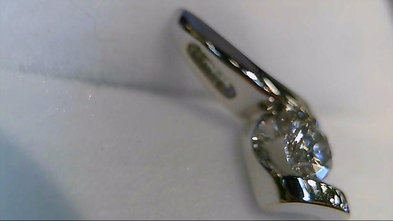 LADY'S 14K WHTIE GOLD 1/4CT ROUND DIAMOND FANCY PENDANT