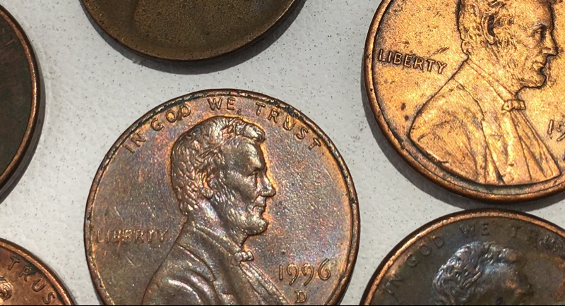 U.S. Lincoln Cents 6 Bubble Plating Error Pennies 1 Missing Die