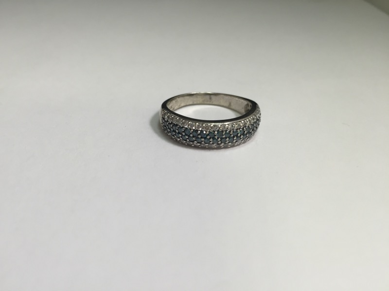 Lady's blue and white Diamond Ring 79 Diamonds .79 Carat T.W. 14K White Gold