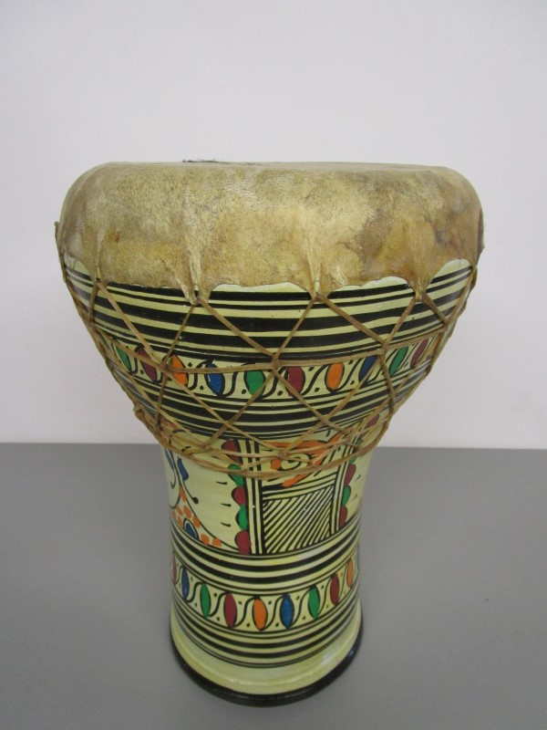 """AUTHENTIC CLAY DOUMBEK DRUM, ANIMAL HIDE AND SINEW, APPROX. 8"""" X 14"""""""