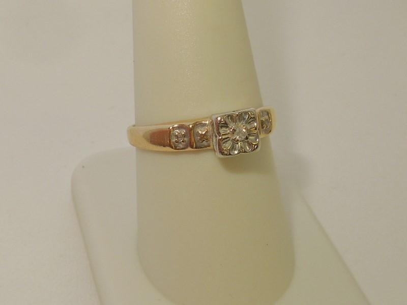 Lady's Diamond Engagement Ring 3 Diamonds .03 Carat T.W. 10K Yellow Gold 2g