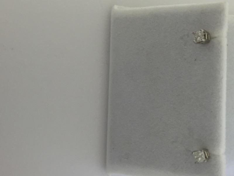 .30 Carat PRINCESS CUT 14K WHITE GOLD DIAMOND STUDS