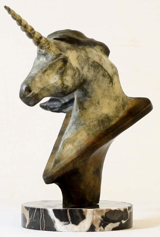 BRONZE UNICORN (HEAD) WITH PATINA - COPYRIGHT '90 BY T. J. M.