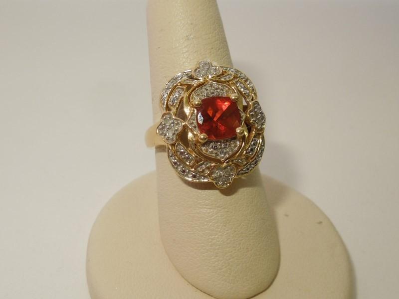 Orange Stone Lady's Stone & Diamond Ring 20 Diamonds .20 Carat T.W.