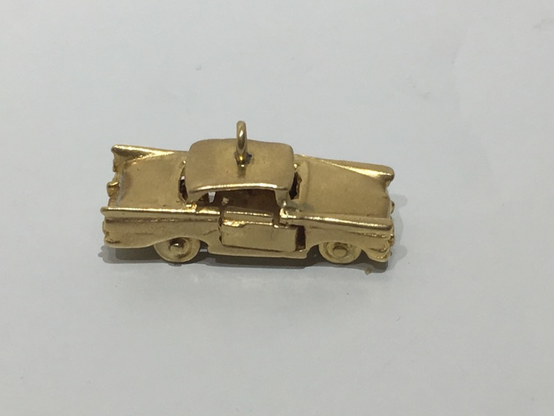 14K Yellow Gold 1957 Chevrolet Chevy Bel-Air Car Charm w/ Moving Parts