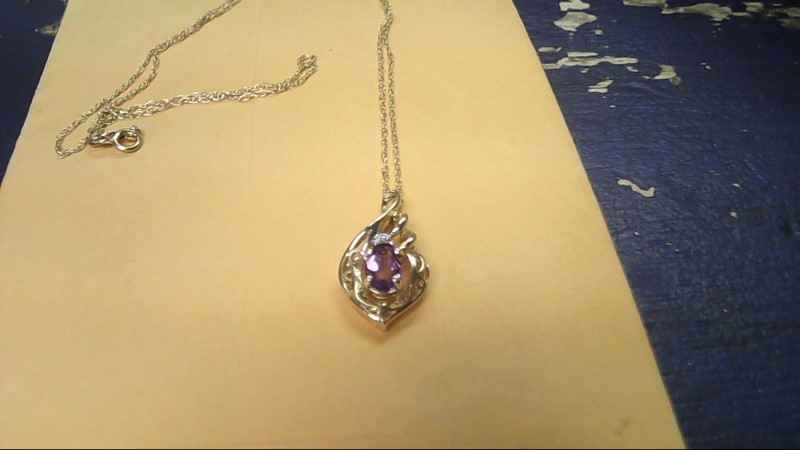 Synthetic Amethyst Diamond & Stone Necklace .01 CT. 14K Yellow Gold 1.8g