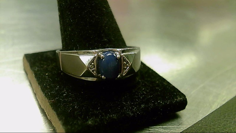 Blue Stone Gent's Stone Ring 10K White Gold 3.7g