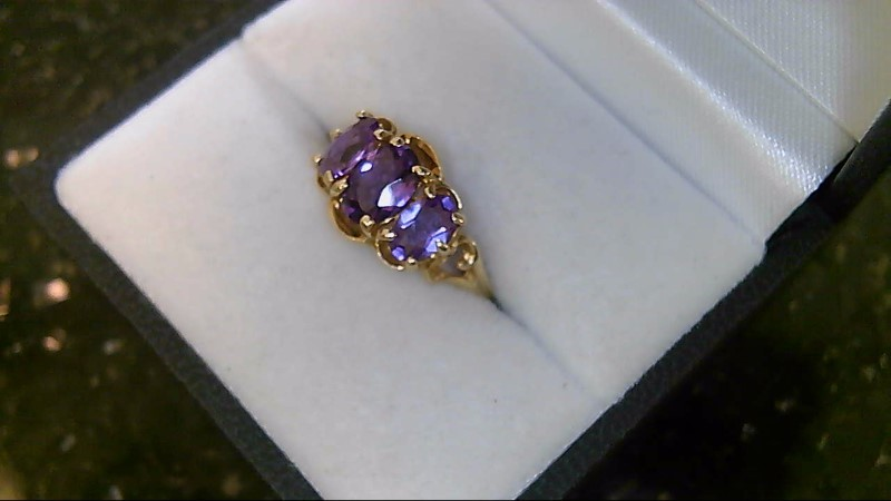LADY'S 10K YELLOW GOLD 3-OVAL AMETHYST RING