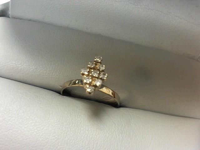 Lady's Diamond Cluster Ring 9 Diamonds .18 Carat T.W. 10K White Gold 1.6g