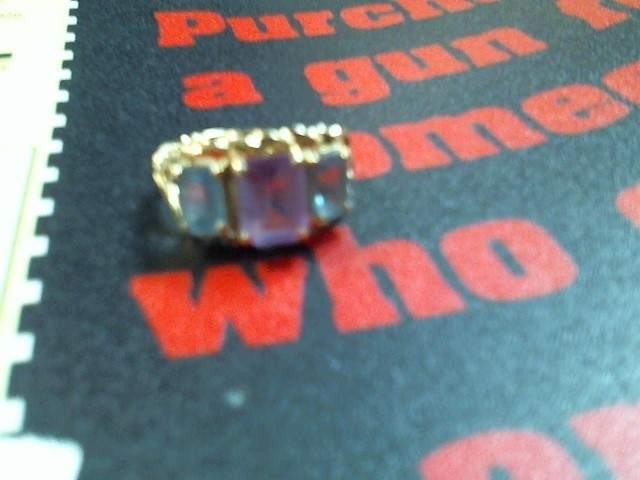 Synthetic Blue Topaz Lady's Stone Ring 14K Yellow Gold 3g