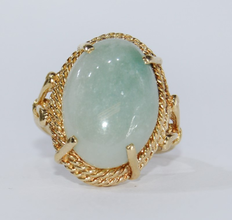 14k Yellow Gold Cathedral Set Light Green Jade Statement Ring sz 6.75