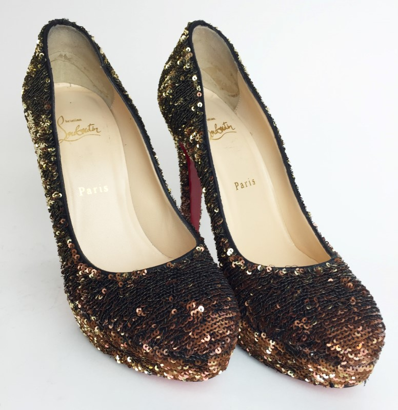 CHRISTIAN LOUBOUTIN SEQUIN RED BOTTOM HEELS SIZE 7.5US