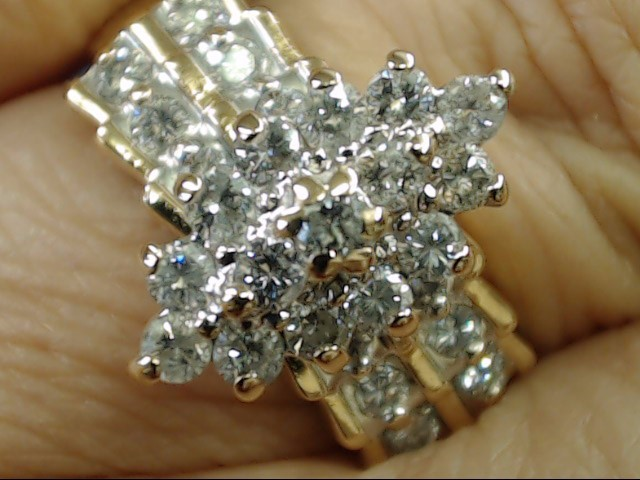 VINTAGE DIAMOND CLUSTER ENGAGEMENT WED RING SOLID 14K GOLD SIZE 8.25