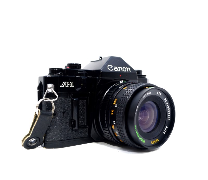 Canon A-1 35mm SLR Film Camera AS IS with 50mm Lens and Flash>