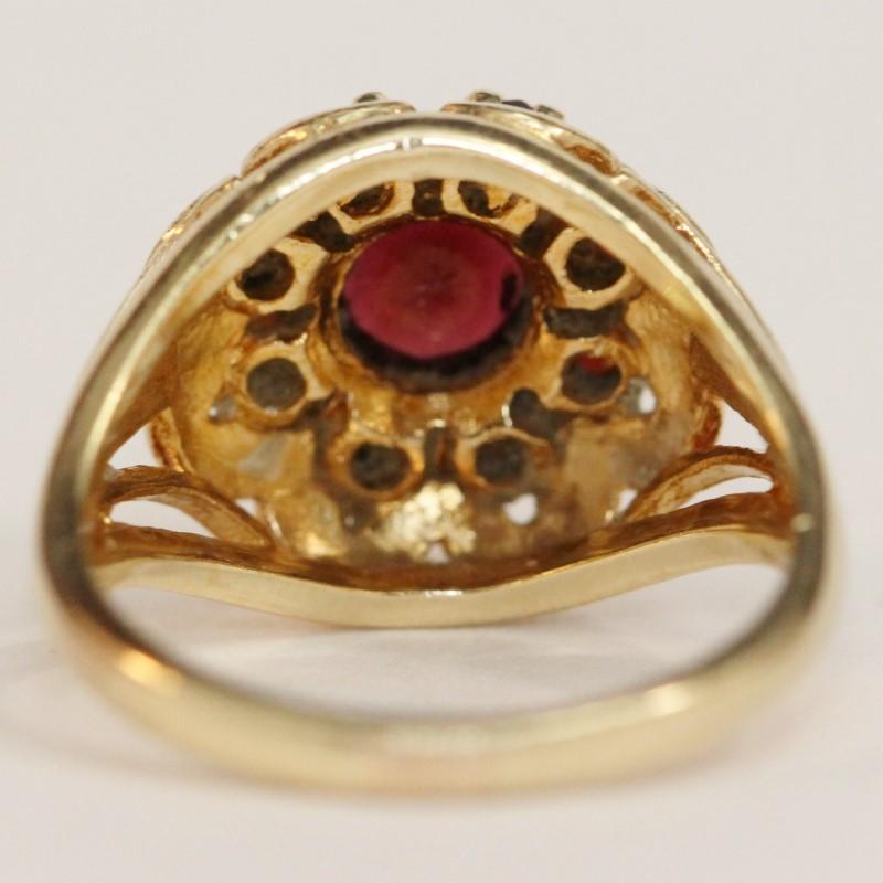 10K Yellow Gold Almandite Garnet Ring Size 7.25