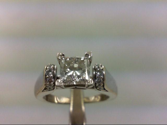 Lady's Diamond Engagement Ring 15 Diamonds 1.25 Carat T.W. 14K White Gold 4.96g
