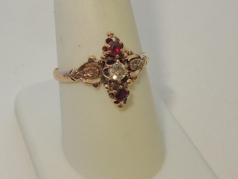Synthetic Almandite Garnet Lady's Stone & Diamond Ring .13 CT. 10K Rose Gold