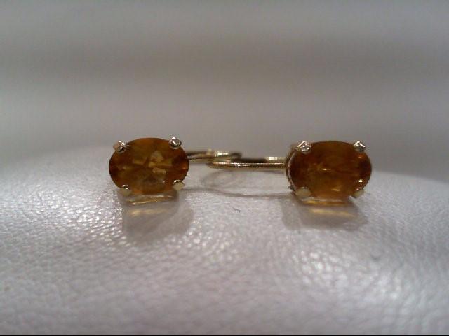 Citrine Gold-Stone Earrings 14K Yellow Gold 1.5g