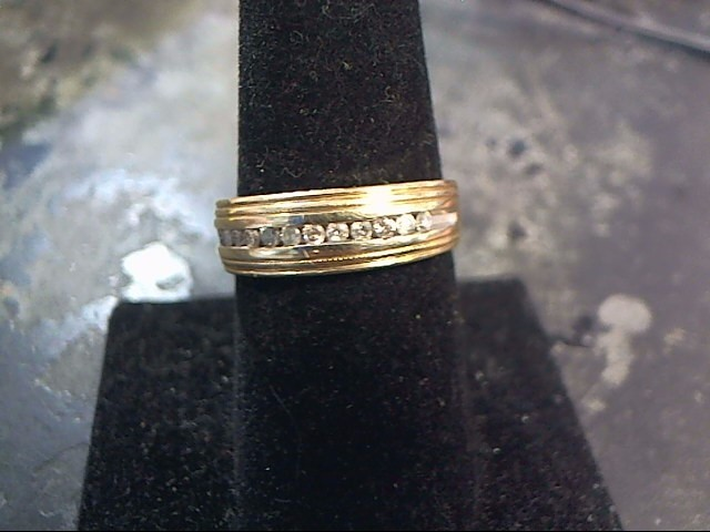 Gent's Gold-Diamond Wedding Band 12 Diamonds .24 Carat T.W. 10K Yellow Gold