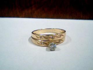 Lady's Diamond Wedding Set 6 Diamonds .15 Carat T.W. 14K Yellow Gold 2.9g