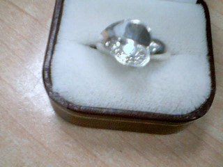 Lady's Silver-Diamond Ring 10 Diamonds .10 Carat T.W. 925 Silver 7.2g
