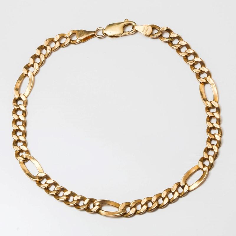 "9"" 14K Yellow Gold Figaro Chain Bracelet"
