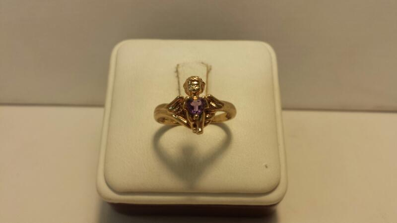 10k Yellow Gold Ring with 1 Heart Purple Stone with Angel holding stone - 1.5dwt