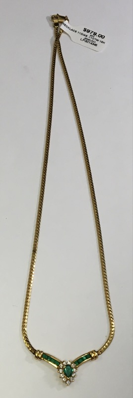 Emerald Diamond & Stone Necklace 11 Diamonds .11 Carat T.W. 18K Yellow Gold